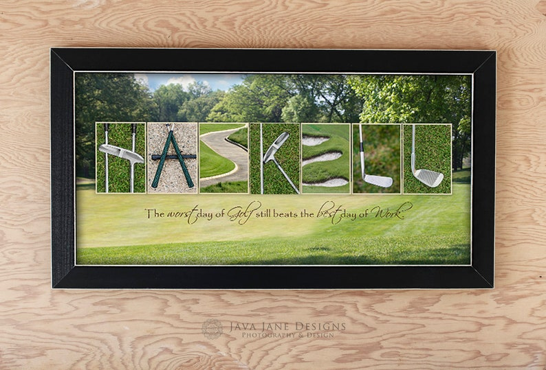 Retirement GOLF Gift for Men Personalized Golf Name Art Golf image 0