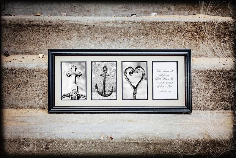 FAITH HOPE LOVE  Cross Anchor Heart  Christian Artwork  image 0