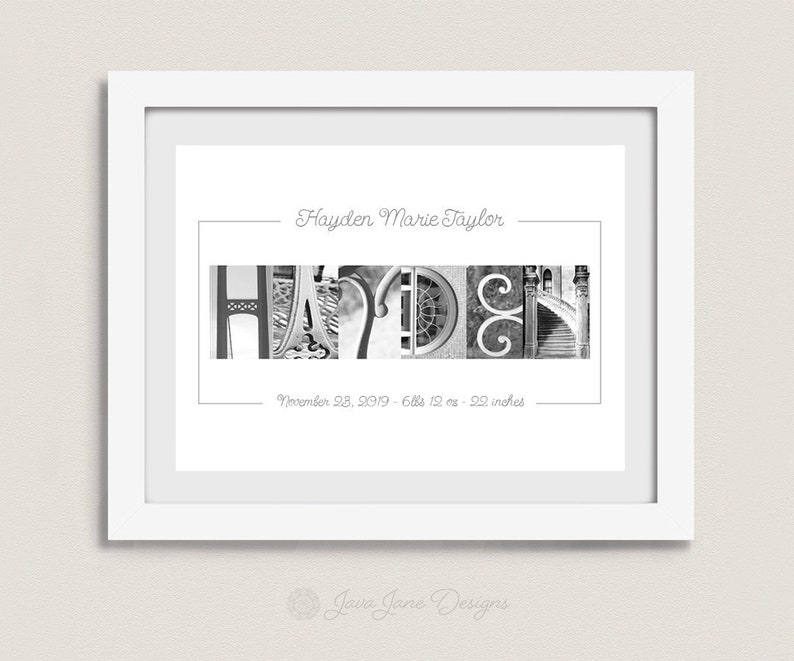 Personalized Baby Name Collage Gift for Boy or Girl  8x10 image 0