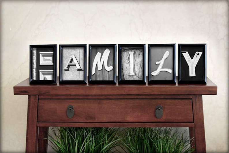 FAMILY spelled out in individual 4x6 Alphabet Letter Photos image 0