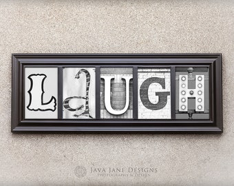 LAUGH | Housewarming Gift | Black and White Vintage Signs | Ready to Ship New Home Gift | Office Gift