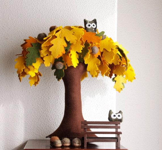 Eiche Filz Baum Home Dekor Eicheln Eulen Miniatur