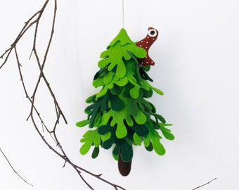 Fir tree, Green Felt Tree with red  bird, Nursery decor, Miniature Decorative gift, Felt ornament, Christmas ornament