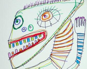 9 x 12 inch original Jeff HUGHART abstract outsider folk funky art punk drawing SURFER MOVES