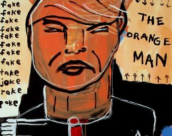 Original Jeff Hughart folk outsider political trump inspired pop art painting - THE ORANGE MAN