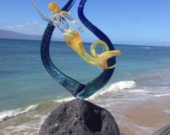Mermaid in dichroic seaweed with coral accent Glass Sculpture