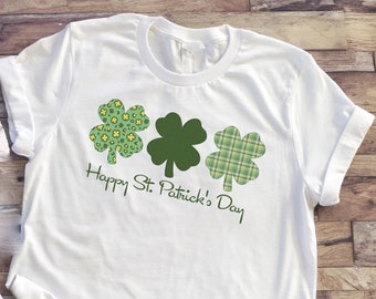 Happy St Patricks Day tshirt   Gray or white tshirt   choice of size   jeans not included   slide for shirt specs