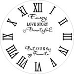 """Black Vinyl Do It Yourself Farmhouse Clock Roman Numerals 4 in tall DECAL and Every love story lettering for 30"""" clock"""