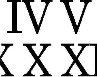 image regarding Roman Numeral Stencils Printable referred to as Farmhouse clock 1 Fastened 12 independent one seek the services of Roman Numeral