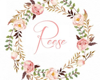Beautiful floral wreathe Iron on transfer with personalized name. Choice of name font color and size.  DIY,  free shipping, Transfer only