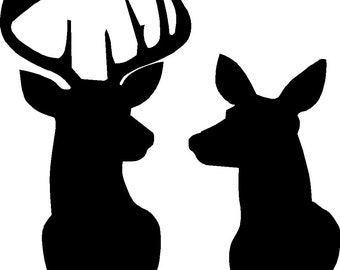 Buck and Doe Deer silhouette Stencil overall size approx 16 across x 18 high STENCIL ONLY board is not included