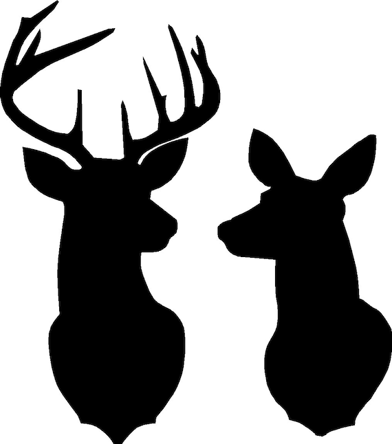 buck and doe deer silhouette stencil overall size approx 16 etsy