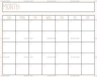 Printable Digital Download Perpetual Blank Calendar   Rae Dunn Inspired   instant download    PNG and PDF   Scalable   minimal   landscape