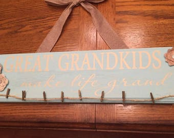 Great Grandkids Make Life Grand 16 x 5 approximately comes  in two colors  diy lettering only board is not included