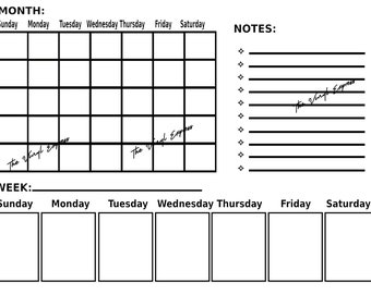 Printable Digital Download Blank Calendar   Monthly Weekly and Notes sections   instant download    Scalable   minimal   landscape