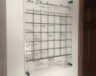 """Custom Calendar DECAL ONLY for previously purchased 16"""" x 20"""" Acrylic board,  decal measures 15"""" x 15"""", format and color choice"""