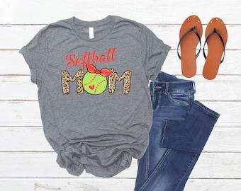 Softball Mom Shirt, leopard print, yellow softball, multiple shirt colors, sublimation print, slide for tshirt specs