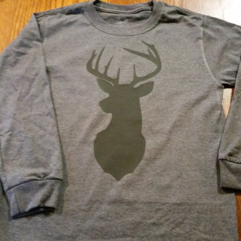 Deer silhouette iron on decal in child and adult sizes for pre image 0