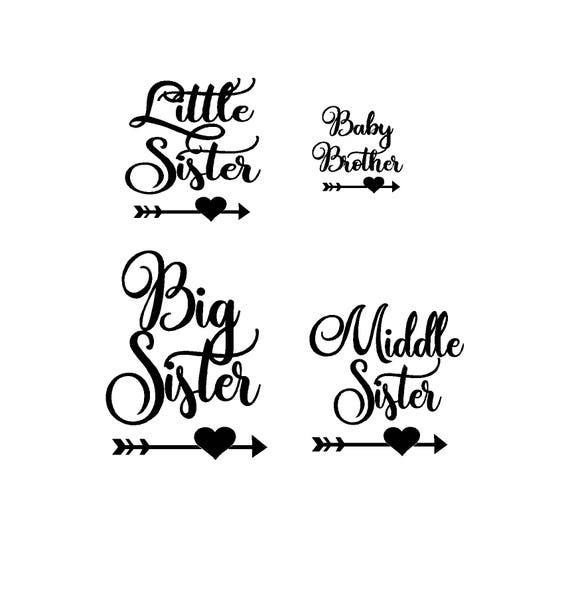 Big Sister Middle Sister Little Sister Baby Brother In Etsy