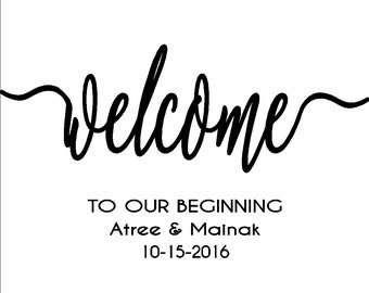 Custom stencil: Welcome to our beginning 24in x13.8in, wedding sign, personalized