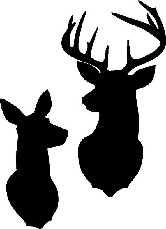 buck and doe silhouette stencil or decal as shown in the first etsy