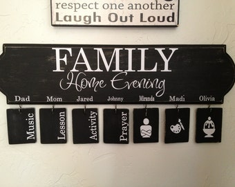 Family Home Evening  vinyl decal with assignments and graphics, decal only, the board is not included, do it yourself project