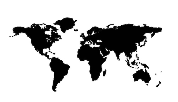 Large World Map Stencil Or Decal 36 X 17 5 Etsy