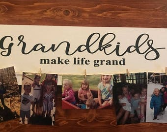 Qty of 2 Grandkids Make Life Grand script and block vinyl DECAL lettering do it yourself, board is not included 16 x 4