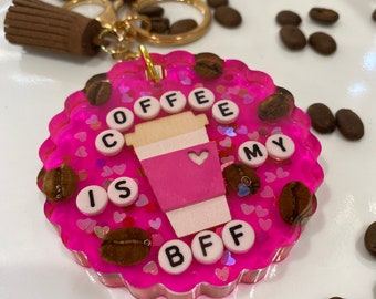 Coffee lover keyring, coffee bean keyring, car accessory, pink resin keyring, Girly keyring, New driver gift, Coffee lover gift