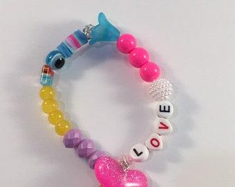 Girls boho love beaded bracelet, tassel bracelet, Glitter girl, Beaded bracelet, whimsical colorful jewelry, Rainbow jewelry, pink glitter