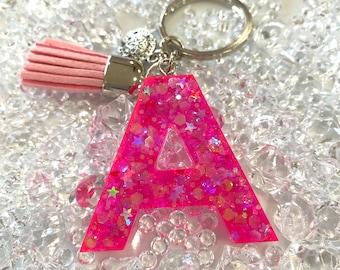 Keyring, Monogram keyring, Gift for her, A monogram gift, Letter A, Resin glitter keyring