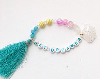 Kid jewelry, Girls boho beaded tassel bracelet, cloud jewelry, Girls bracelet, Beaded bracelet, whimsical colorful jewelry, Day Dreamer