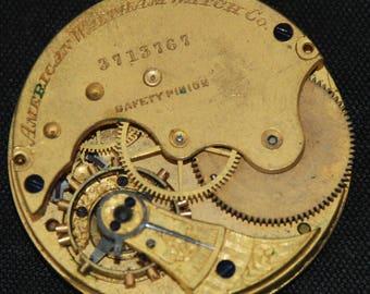 Vintage Antique Waltham Watch Pocket Watch Movement Steampunk SM 44