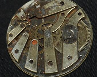 Gorgeous Vintage Antique Watch Pocket Watch Movement Steampunk Altered Art Assemblage Industrial QR 90