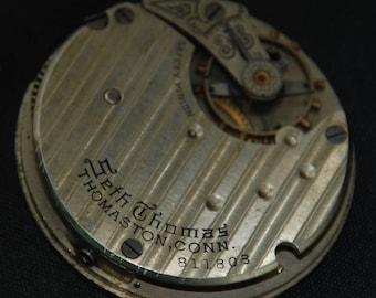 Gorgeous Vintage Antique Pinstriped Seth Thomas Pocket Watch Movement  Steampunk Altered Art SM 37