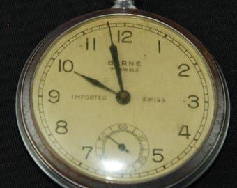 Vintage Antique Watch Pocket Watch Movement Case Body Dial Face Steampunk Altered Art QR 53