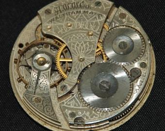 Vintage Antique Large Waltham Watch Pocket Watch Movement Steampunk SM 56