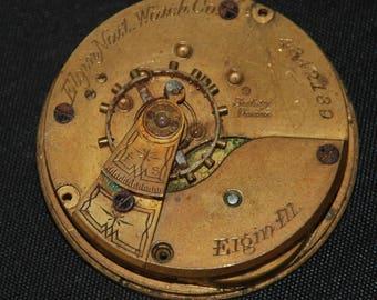 Gorgeous Vintage Antique Elgin Watch Pocket Watch Movement Steampunk SM 82