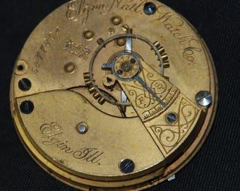 Gorgeous Vintage Antique Elgin Watch Pocket Watch Movement Steampunk SM 88