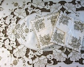 Vintage Tablecloth Set Madeira Linen w 8 Napkins Hand Emboidered Table Cloth Rectangle Table Linens Embroidery 66 quot x 105 quot Vintage Linens