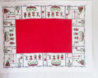 Vintage Red Tablecloth Kitchen Table Linens Sun Glo Salt and Pepper Retro Table Cloth 1950's 1960's Mid Century Textiles Vintage Linens