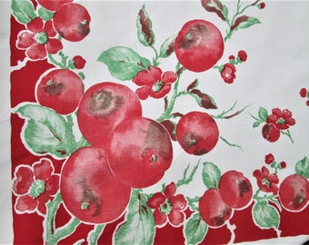 "Vintage Tablecloth Red Fruit Pomegranates by Springmaid 1940's Kitchen Linens 49"" x 50"" Table Cloth Table Linens Red Vintage Kitchen Decor"