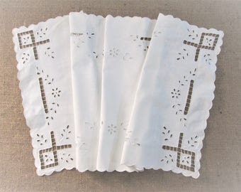 Vintage Table Runner Antique Table Linens Hand Embroidered Bureau Scarf White Embroidery Vintage Linens