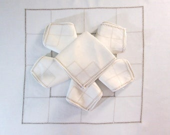 """Antique Tablecloth Table Cloth and Napkins Ivory White Italian Table Linens 48"""" x 50""""  Dining Room Cottage Decor Vintage Linens"""