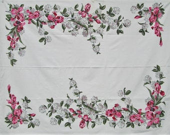 Vintage Tablecloth Pink Green Bearded Iris Printed Table Cloth Cottage Decor Mid Century Kitchen Linens