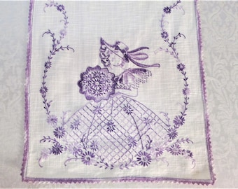 Vintage Table Runner Hand Embroidered Purple Southern Belle Bell Crinoline Lady Embroidery Antique Table Linens Dresser Scarf Vintage Linens