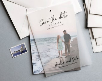 Photo Save the Date with Vellum Overlay - Custom Wedding Save the Date with Engagement Photo - Modern Photo Save the Date