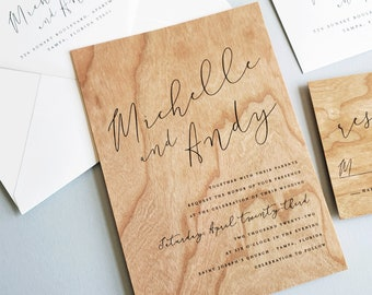 Real Wood Wedding Invitation Sample - Rustic Boho Michelle Wedding Invitation, Unique Woodland Wedding Invite, Outdoor Country Wedding