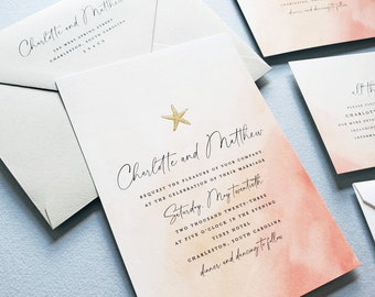 Charlotte Beach Wedding Invitation Sample with Deckled Edges - Coral Watercolor with Gold Foil Starfish, Beach Destination Wedding Invite