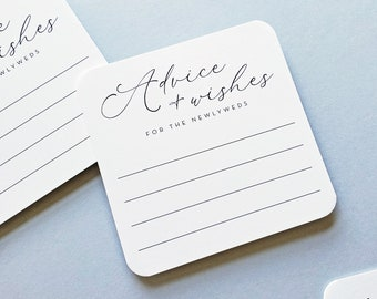 Wedding Advice Coasters - White Fill in the Blank Advice and Wishes Coasters for Wedding Reception - Fun Interactive Wedding Idea